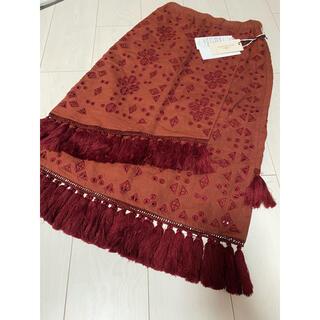 グレースコンチネンタル(GRACE CONTINENTAL)の新品 タグ付き グレースコンチネンタル タッセル ラップスカート ロング 刺繍(ロングスカート)
