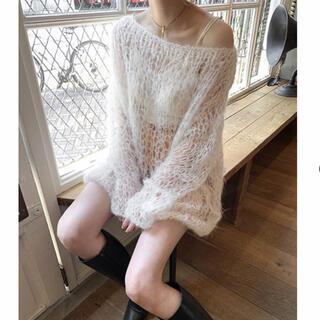 TODAYFUL - birthdeath   ホワイト手編みモヘアフィッシュネットセーター