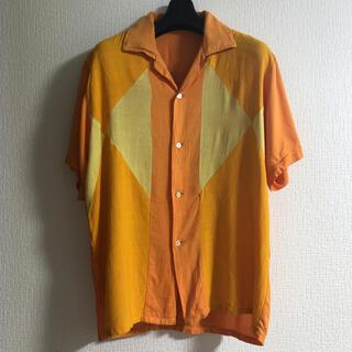 Vintage アーガイル 半袖 シャツ イエロー マスターhド 70's(シャツ)