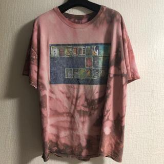 Vintage タイダイ 柄 染め 総柄 赤 プリント Tシャツ アメカジ(Tシャツ/カットソー(半袖/袖なし))