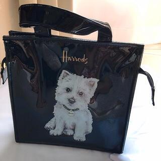 ハロッズ(Harrods)の大人気! ハロッズ 犬 エナメル ハンドバッグ ブラック(ハンドバッグ)