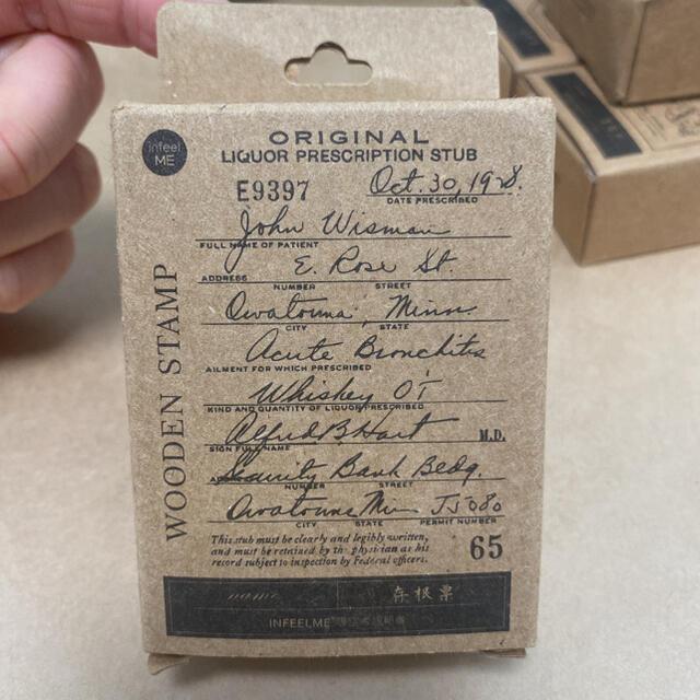 【4個セット】ヴィンテージチケットラベル木製スタンプ海外 インテリア/住まい/日用品の文房具(印鑑/スタンプ/朱肉)の商品写真
