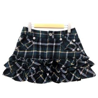 バーバリーブルーレーベル(BURBERRY BLUE LABEL)のバーバリーブルーレーベル スカート フレア ティアード ミニ チェック 緑 38(ミニスカート)