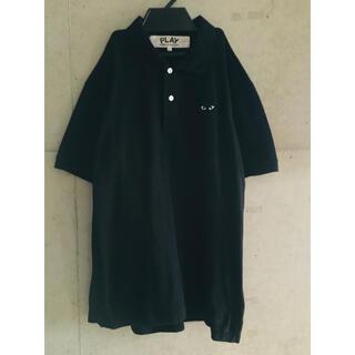 コムデギャルソン(COMME des GARCONS)の【★希少★メンズL】プレイコムデギャルソン 黒 × 黒 予備ボタン付 ポロシャツ(ポロシャツ)