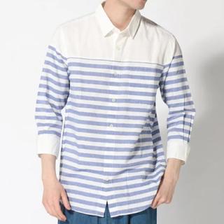 【新品】nano universe パネルボーダーシャツ七分袖シャツ