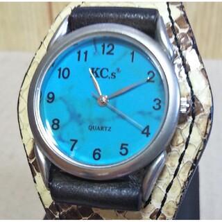 ケイシイズ(KC,s)の電池新品 KC,s ケイシイズ ウォッチブレス スリーコンチョ パイソン 腕時計(腕時計(アナログ))