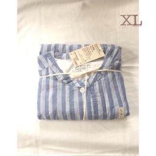 ムジルシリョウヒン(MUJI (無印良品))の 無印良品     脇に縫い目のない薄手二重ガーゼ七分袖パジャマ XLストライプ(パジャマ)