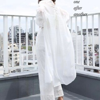 one after another NICE CLAUP - 新品 one after another 後ろレースアップロングシャツ