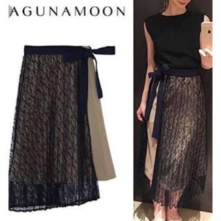 ラグナムーン(LagunaMoon)の《美品》LAGUNAMOON♡レースプリーツレイヤードスカート sizeS(ひざ丈スカート)
