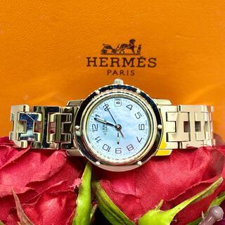 Hermes - 美品!稼働品!エルメス クリッパー ナクレ ブルーシェル CL4.210 腕時計