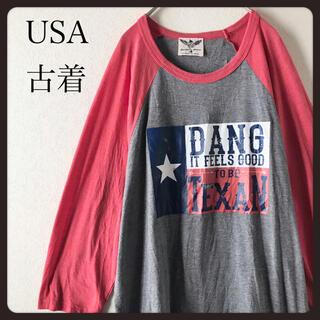 【USA古着】ラグランスリーブ 七分袖シャツカットソー  L 大きいサイズ  (Tシャツ/カットソー(七分/長袖))