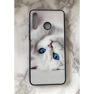 ファーウェイ(HUAWEI)の可愛いねこちゃん♪背面9Hガラスケース HUAWEI P30Lite 白猫(Androidケース)