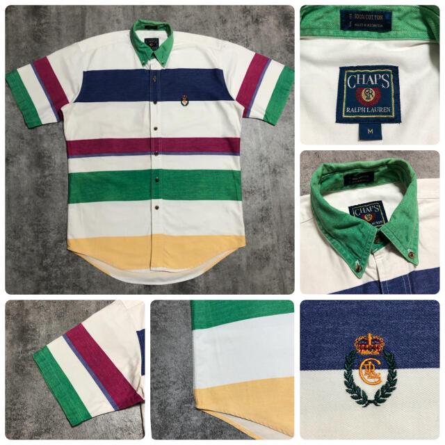 Ralph Lauren(ラルフローレン)のチャップスラルフローレン☆ワンポイント刺繍ロゴ半袖マルチ太ボーダーシャツ 90s メンズのトップス(シャツ)の商品写真