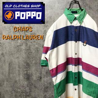 Ralph Lauren - チャップスラルフローレン☆ワンポイント刺繍ロゴ半袖マルチ太ボーダーシャツ 90s