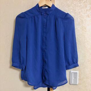 マウジー(moussy)のmoussy マウジー 7分袖 シャツ M ブルー 青 韓国 韓流(シャツ/ブラウス(長袖/七分))