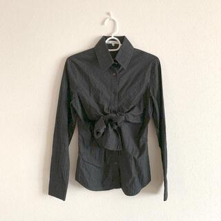 NARACAMICIE - ナラカミーチェ 綿シャツ ブラウス チェック 黒 ブラック 綿100% リボン