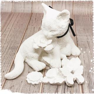 リボンを付けた猫のアロマストーン