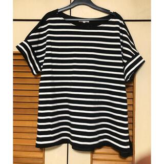プラステ(PLST)のPLST ボーダーカットソー  白×黒(Tシャツ(半袖/袖なし))