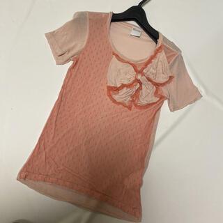 レッドヴァレンティノ(RED VALENTINO)の美品RED VALENTINOレース切り替えTシャツ (Tシャツ(半袖/袖なし))