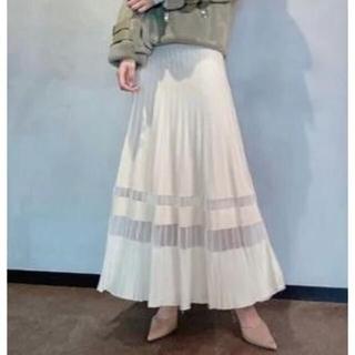 エイミーイストワール(eimy istoire)の新品タグ付き エイミーイストワール シアーコンビプリーツニットスカート(ロングスカート)