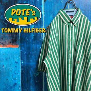 TOMMY HILFIGER - 【トミーヒルフィガー】オールド刺繍ロゴ半袖ボールドストライプシャツ 90s