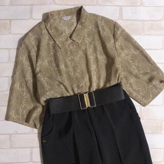 Lochie - 透け感 ペイズリー 総柄 レトロ 半袖シャツ 古着 80s 90s