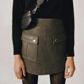 ザラ(ZARA)の新品 ZARA ザラ ネオレザースコートミニスカート カーキ XS(ミニスカート)