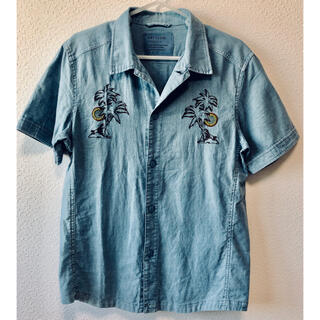 ベイフロー(BAYFLOW)の6111 BAYFLOW ベイフロー インディゴ リネン 刺繍 半袖シャツ 2(シャツ)