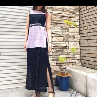 mame - ebony フリンジスカート BLACK