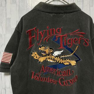 アヴィレックス(AVIREX)の古着 Vintage 90s AVIREX 虎 刺繍入り シャツ 半袖(ポロシャツ)