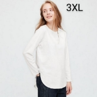 ユニクロ コットンロングシャツテールT ホワイト 3XL 新品