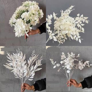 造花 フラワー お花 花 装飾 インテリア 自然 ホワイトカラー お得4本セット(ドライフラワー)