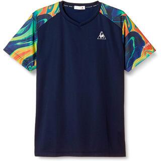 le coq sportif - ルコックスポルティフ テニスウェア 半袖TシャツQTMQJA02紺 メンズO新品