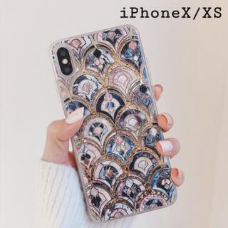 大理石 タイル風 モロッカン グリッター ケース【iPhone X/XS】 (iPhoneケース)