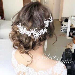 数量限定✨ 小枝 クリスタル ビジュー シルバー ヘアアクセサリー結婚式髪飾り(ヘッドドレス/ドレス)