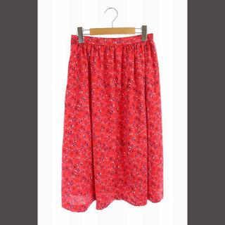 ロペ(ROPE)のロペ スカート バックサテンパネルギャザー ひざ丈 フレア 36 赤 青 白(ひざ丈スカート)