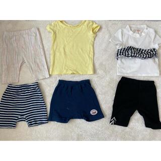 ユニクロ(UNIQLO)の80cm 6点まとめ売り 女の子  半袖Tシャツ ハーフパンツ 上下セット 夏服(Tシャツ)