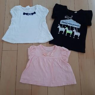 ニシマツヤ(西松屋)のシンプル Tシャツ 3枚セット 黒 ピンク 白 70(Tシャツ)