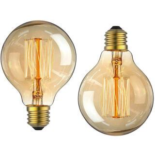 エジソン電球 E26口金 アンティーク照明 (ボール型 2個入り)(蛍光灯/電球)