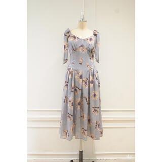 Sunflower-printed Midi Dress herlipto(ロングワンピース/マキシワンピース)