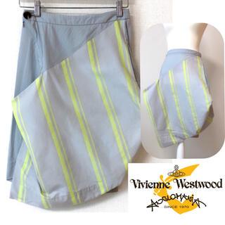 ヴィヴィアンウエストウッド(Vivienne Westwood)のレア 美品【Vivienne Westwood】デザイン スカート ストライプ(ひざ丈スカート)