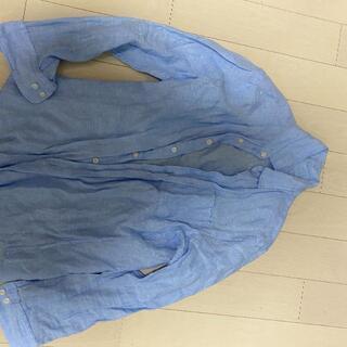 ユニクロ(UNIQLO)の美品 送料無料 UNIQLO ユニクロ プレミアムリネンシャツ(長袖)ブルー S(シャツ)
