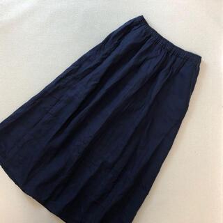 MUJI (無印良品) - 無印良品 リネン100% ロングスカート  紺