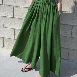 coen - レディース リネン風きれいめスカンツ ワイドパンツ グリーン スカーチョ