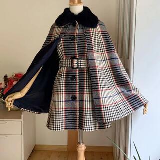 ロイスクレヨン(Lois CRAYON)の美品 ロイスクレヨン ポンチョ風コート 受注コート ファー取外可能(ロングコート)