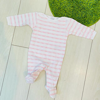baby Dior - 未使用 baby Dior 1M ピンク ボーダー 足付きロンパース