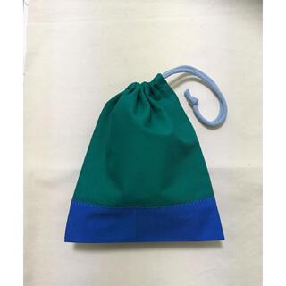 コップ袋 巾着袋 エメラルドグリーン×ブルー(紐みずいろ)(外出用品)