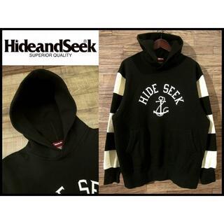 HIDE AND SEEK - 美品 XL ハイドアンドシーク ボーダー アンカー マリン スウェット パーカー
