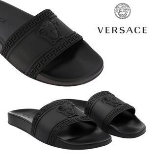 ヴェルサーチ(VERSACE)の2 VERSACE ブラック パラッツォ メデューサ サンダル size 44 (サンダル)