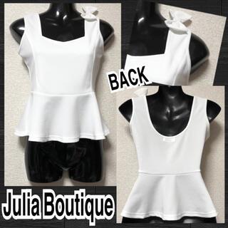 【新品/Julia Boutique】肩リボン付ペプラムノースリカットソー(カットソー(半袖/袖なし))
